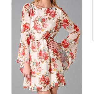 Alice + Olivia Brenna Bell Sleeve Floral Dress XS